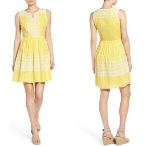 Vineyard Vines Yellow Embroidered Fit Flare Dress